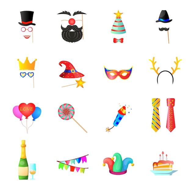 Conjunto de ícones de desenho animado aniversário, aniversário retrô. Vetor Premium
