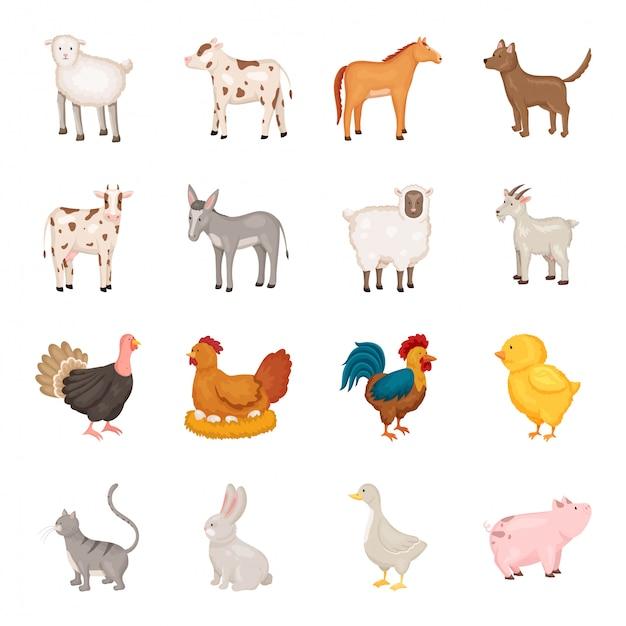 Conjunto de ícones de desenhos animados de animais de fazenda eu Vetor Premium