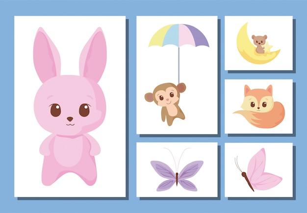 Conjunto de ícones de desenhos animados de animais fofos Vetor Premium