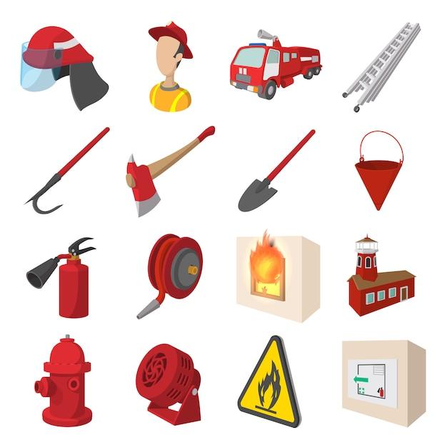 Conjunto de ícones de desenhos animados de bombeiro isolado Vetor Premium