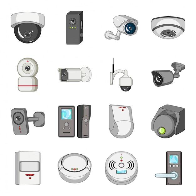 Conjunto de ícones de desenhos animados de câmera de vídeo Vetor Premium