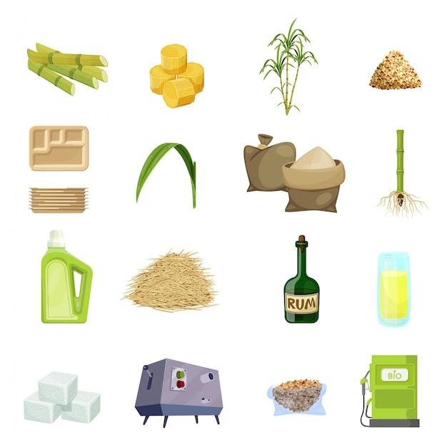Conjunto de ícones de desenhos animados de cana de açúcar Vetor Premium