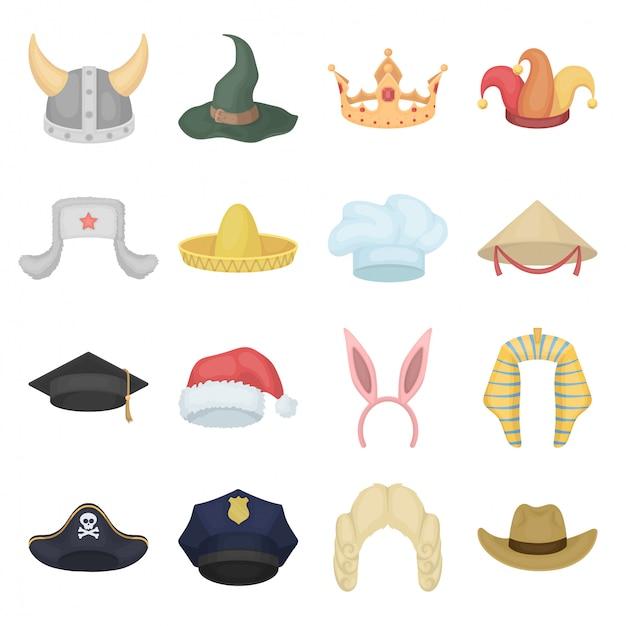 Conjunto de ícones de desenhos animados de chapéu Vetor Premium