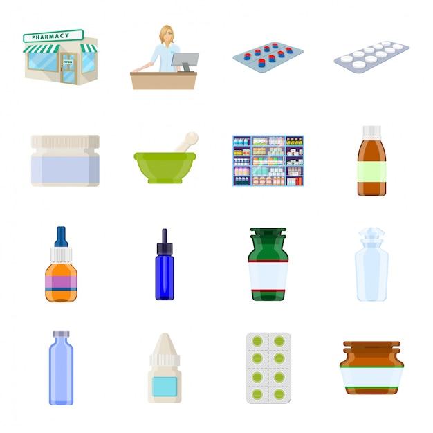 Conjunto de ícones de desenhos animados de farmácia Vetor Premium