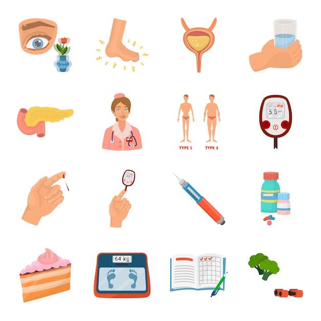 Conjunto de ícones de desenhos animados de feijão diabetes Vetor Premium