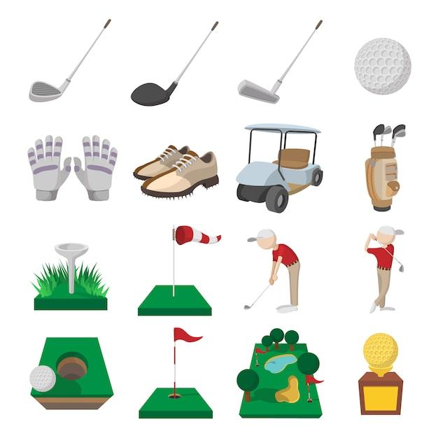 Conjunto de ícones de desenhos animados de golfe isolado Vetor Premium