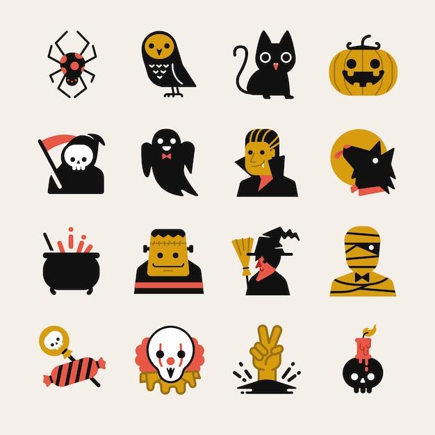 Conjunto de ícones de desenhos animados de halloween. Vetor Premium