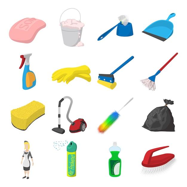 Conjunto de ícones de desenhos animados de limpeza isolado Vetor Premium