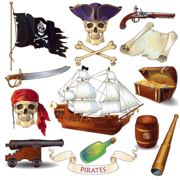 Conjunto de ícones de desenhos animados de piratas Vetor Premium