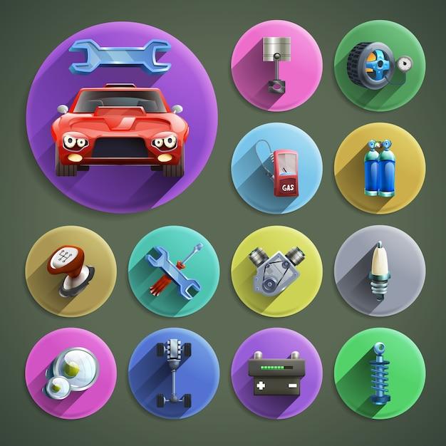 Conjunto de ícones de desenhos animados de reparação de automóveis Vetor grátis