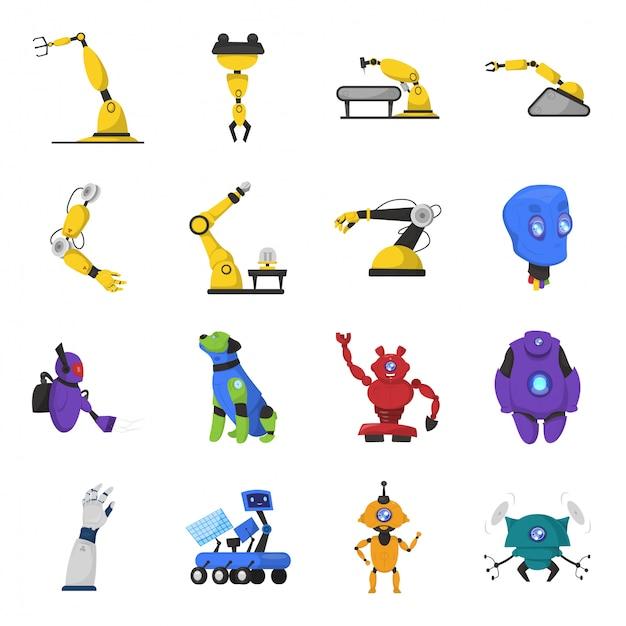 Conjunto de ícones de desenhos animados de robô Vetor Premium