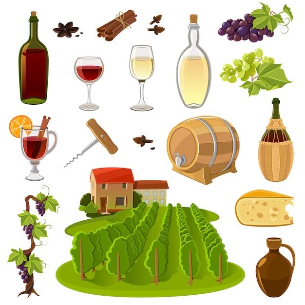 Conjunto de ícones de desenhos animados de vinho Vetor grátis