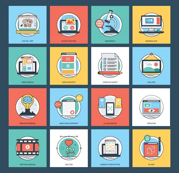 Conjunto de ícones de desenvolvimento web e móvel Vetor Premium