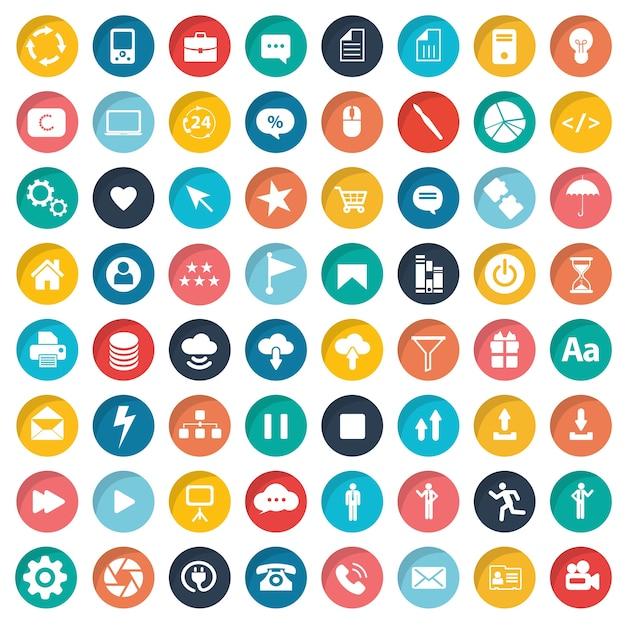 Conjunto de ícones de design da web Vetor grátis