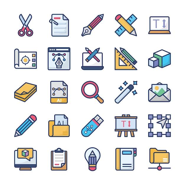 Conjunto de ícones de design de gráficos Vetor Premium