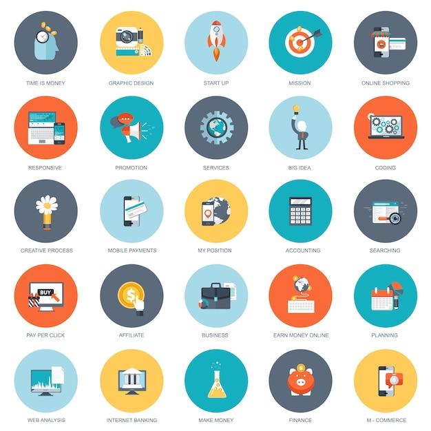 Conjunto de ícones de design plano de negócios Vetor Premium