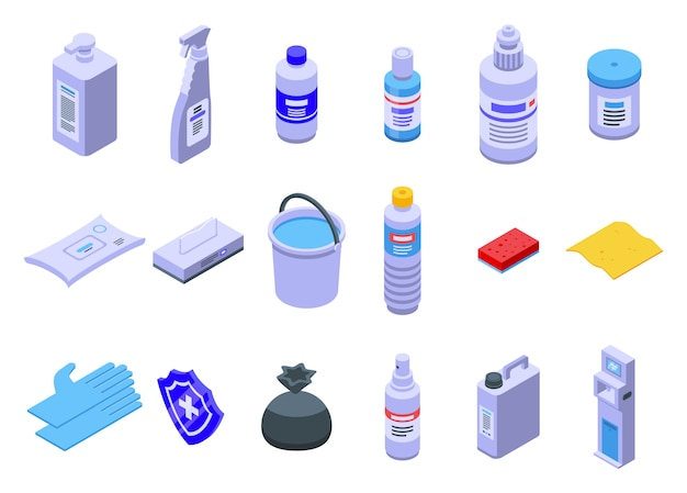 Conjunto de ícones de desinfecção, estilo isométrico Vetor Premium