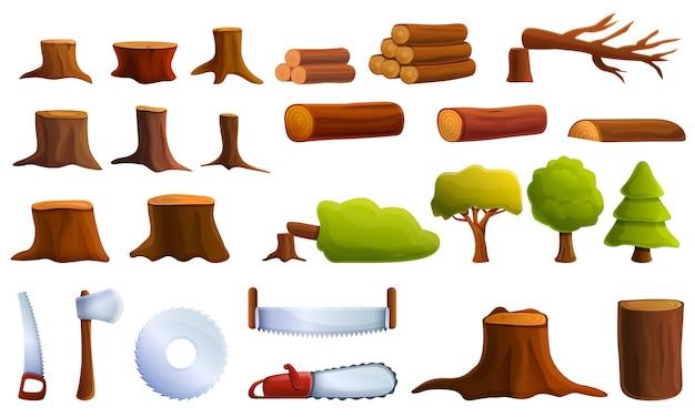 Conjunto de ícones de desmatamento, estilo cartoon Vetor Premium