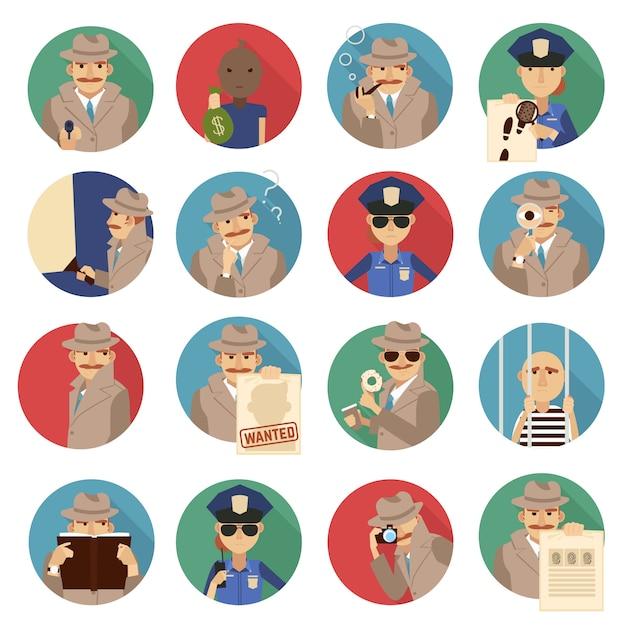 Conjunto de ícones de detetive particular Vetor grátis