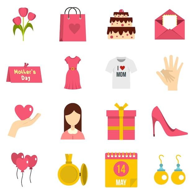 Conjunto de ícones de dia das mães em estilo simples Vetor Premium