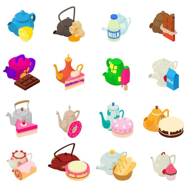 Conjunto de ícones de dia de chá Vetor Premium