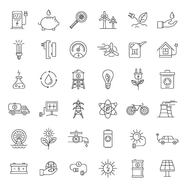 Conjunto de ícones de dia de ecologia Vetor Premium