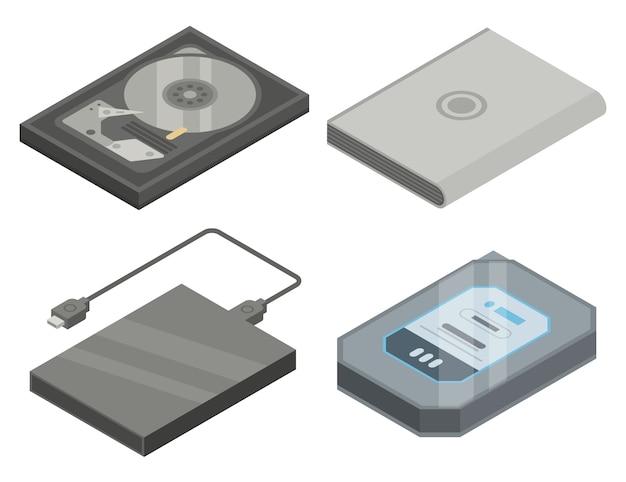 Conjunto de ícones de disco rígido, estilo isométrico Vetor Premium