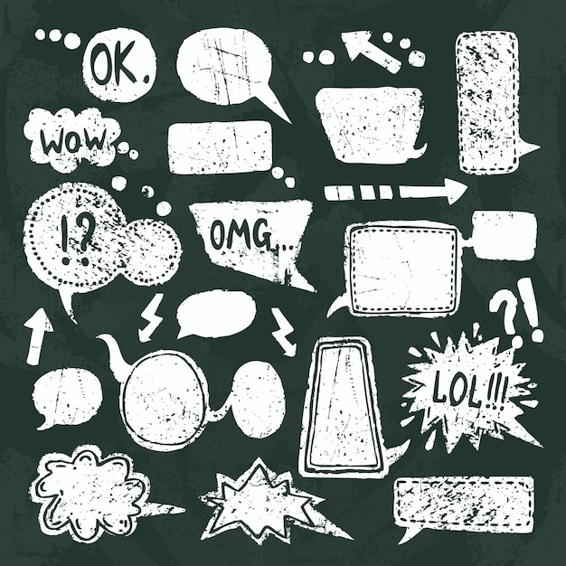 Conjunto de ícones de discurso de bolha lousa Vetor grátis