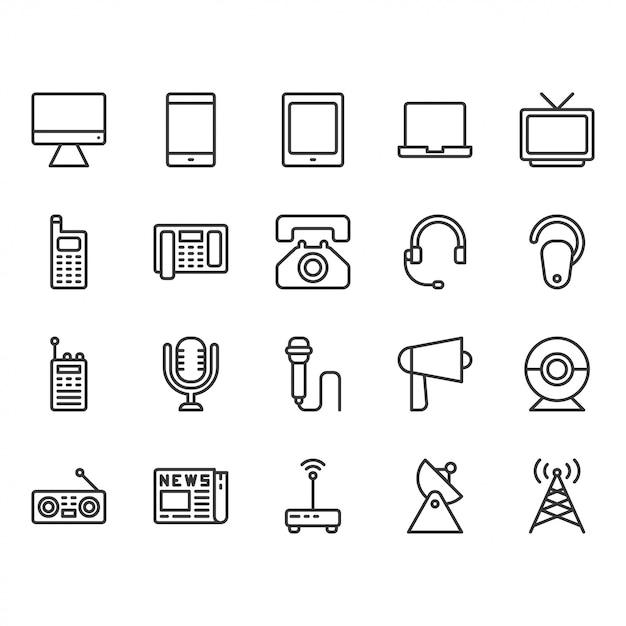 Conjunto de ícones de dispositivo de comunicação Vetor Premium