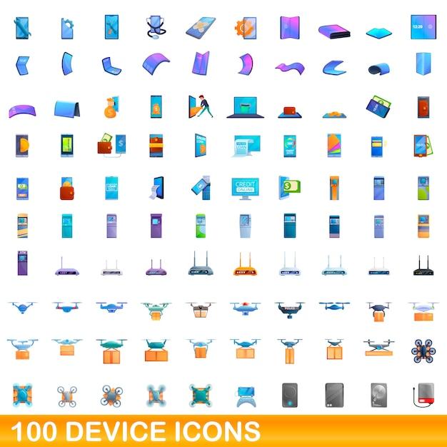 Conjunto de ícones de dispositivo, estilo cartoon Vetor Premium