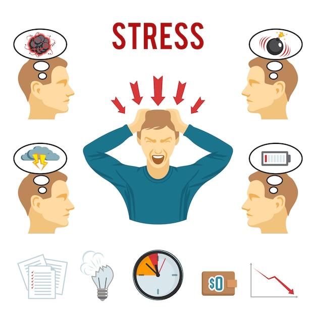 Conjunto de ícones de distúrbio mental e estresse Vetor grátis