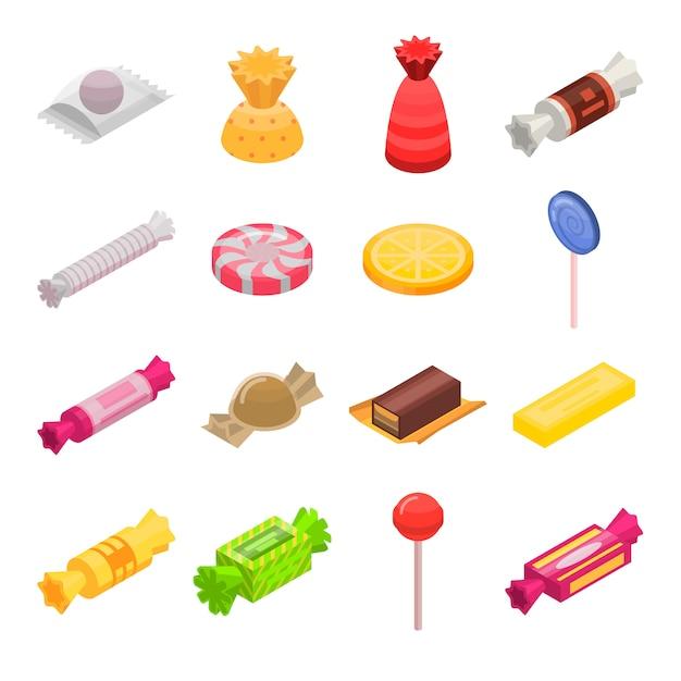 Conjunto de ícones de doces de açúcar. conjunto isométrico de ícones de vetor de doces de açúcar para web design isolado no fundo branco Vetor Premium