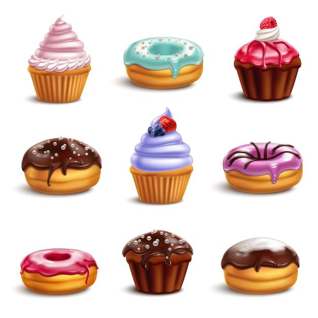 Conjunto de ícones de doces de biscoito Vetor grátis