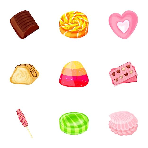 Conjunto de ícones de doces de frutas, estilo cartoon Vetor Premium