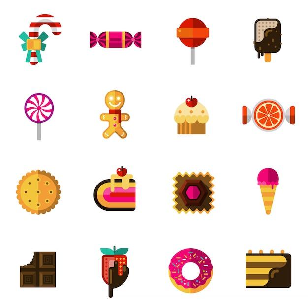 Conjunto de ícones de doces Vetor grátis