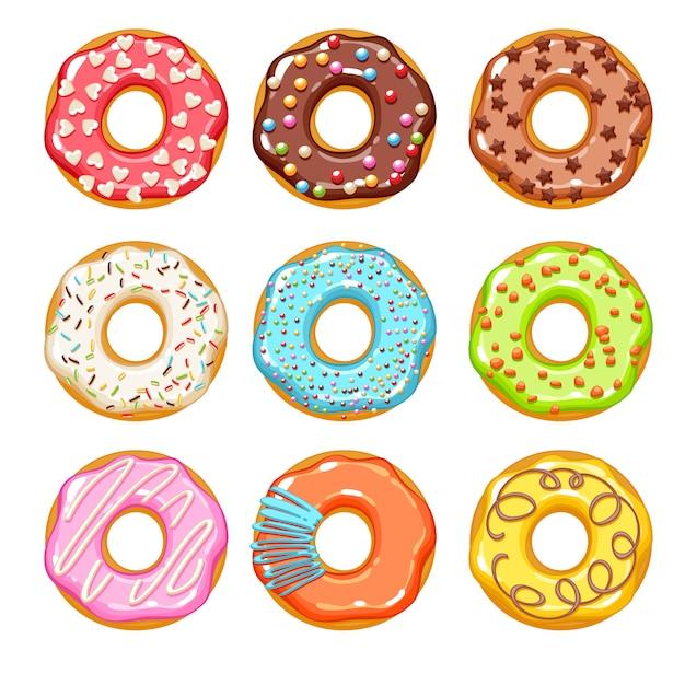 Conjunto de ícones de donuts coloridos. padaria doce. Vetor Premium