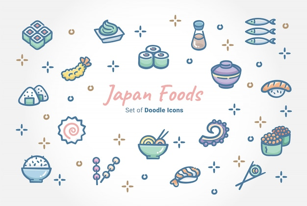 Conjunto de ícones de doodle de alimentos do japão Vetor Premium