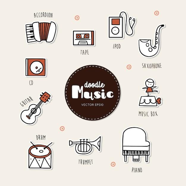 Conjunto de ícones de doodle de mão desenhada de música. Vetor Premium