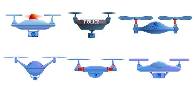 Conjunto de ícones de drone de polícia, estilo cartoon Vetor Premium