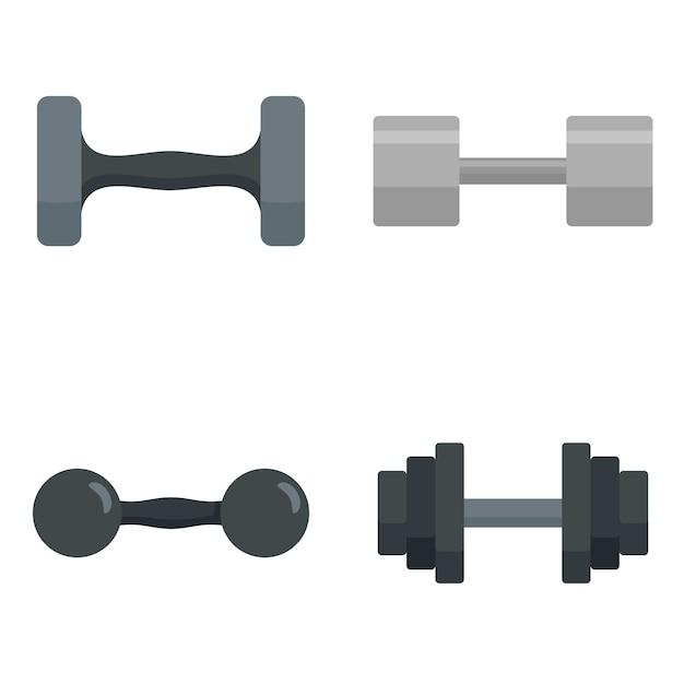 Conjunto de ícones de dumbell Vetor Premium