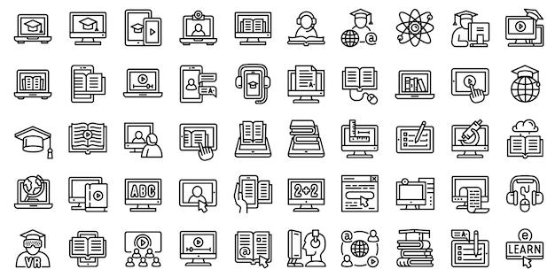 Conjunto de ícones de e-learning. conjunto de contorno de ícones de vetor elearning isolado Vetor Premium