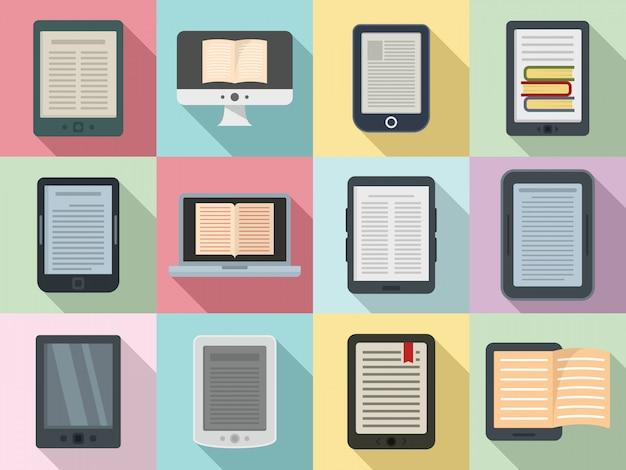 Conjunto de ícones de ebook, estilo simples Vetor Premium