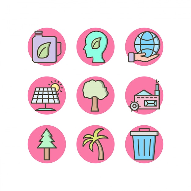 Conjunto de ícones de eco em elementos isolados de vetor de fundo branco Vetor Premium