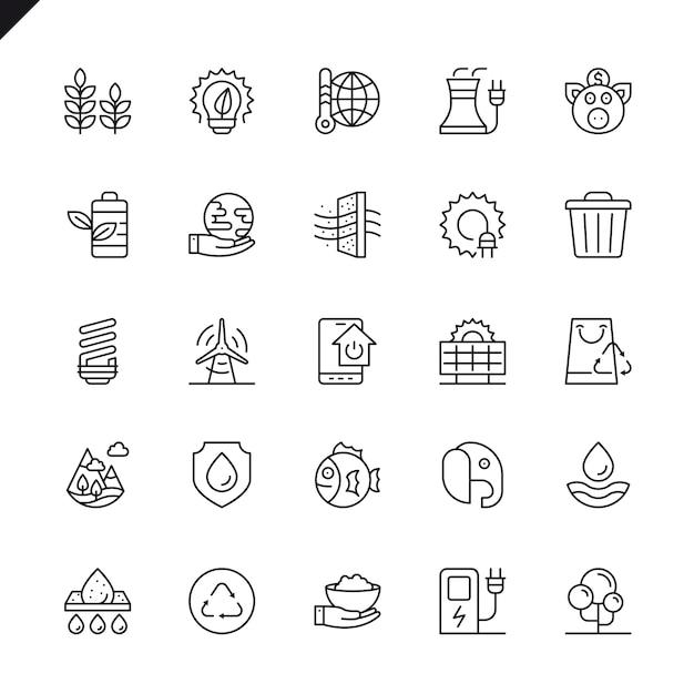 Conjunto de ícones de ecologia de linha fina Vetor Premium