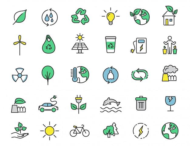 Conjunto de ícones de ecologia linear ícones do ambiente Vetor Premium