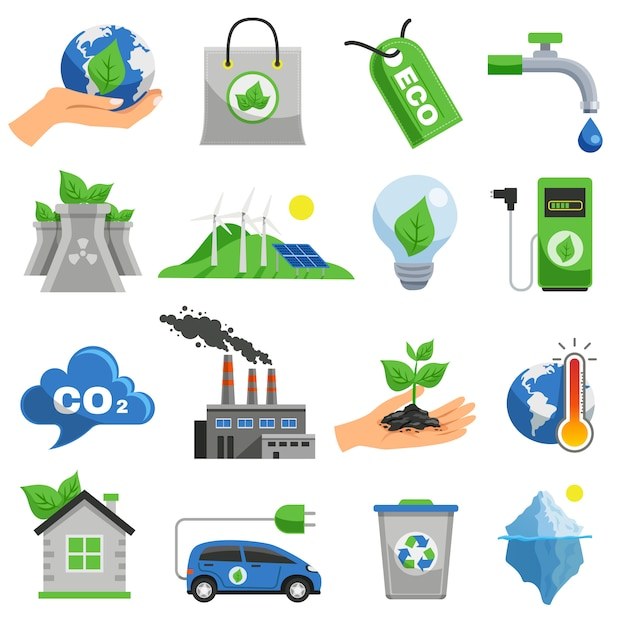 Conjunto de ícones de ecologia Vetor grátis