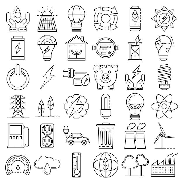 Conjunto de ícones de economia de energia. conjunto de contorno de ícones de vetor de poupança de energia Vetor Premium