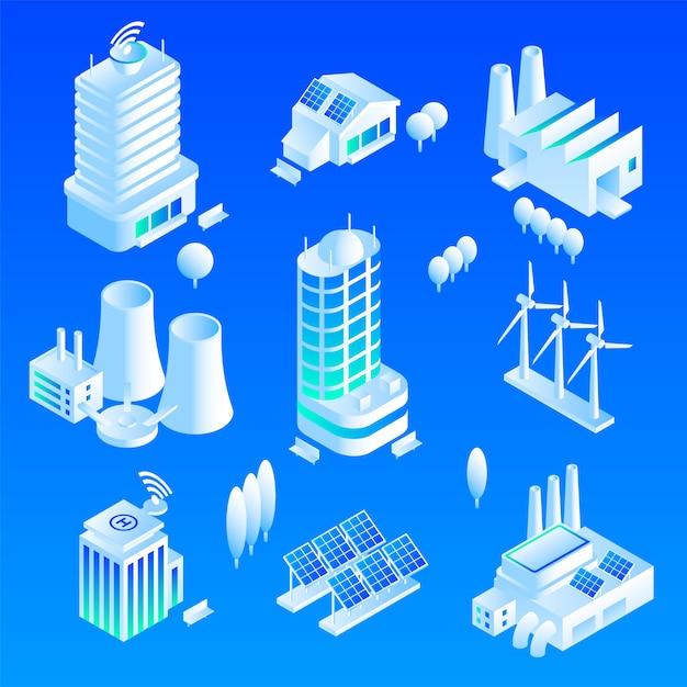 Conjunto de ícones de edifício inteligente Vetor Premium