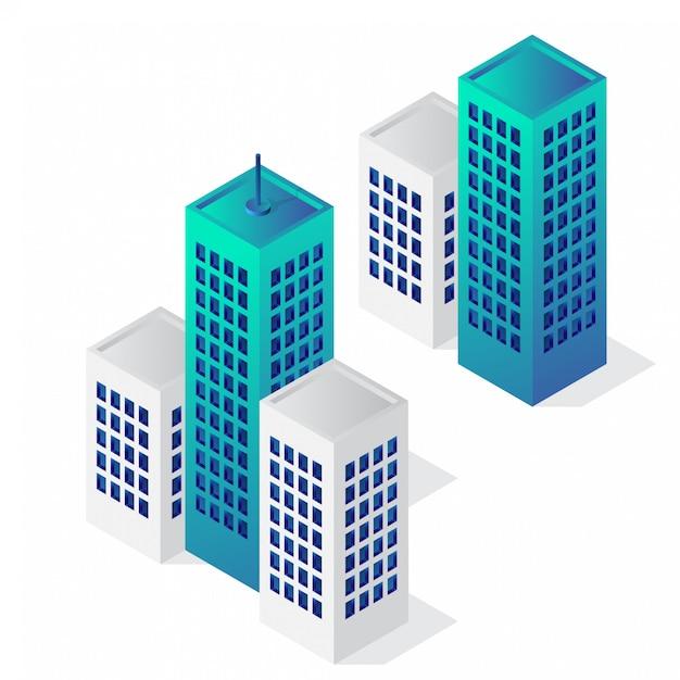 Conjunto de ícones de edifício isométrico Vetor Premium