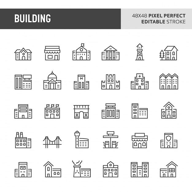 Conjunto de ícones de edifícios Vetor Premium